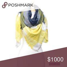 """🌟Plaid Square Blanket Scarf Yellow🌟 🌟BRAND NEW🌟  Very soft and cozy Plaid square blanket scarf. Perfect addition to your fall & winter outfit! Dimension approximately 55""""x55"""".   Color: Yellow Fabric: Acrylic  💟Submit your offer thru the """"Offer"""" button 💟NO Price discussion in the comment 💟NO Lowballing 💟NO Trades Davin+Theia Accessories Scarves & Wraps"""