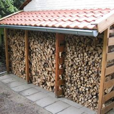 Pin on vrtna kućica Outdoor Firewood Rack, Firewood Shed, Firewood Storage, Pallet Storage, Sloped Backyard, Backyard Landscaping, Patio Design, Garden Design, Oak Framed Buildings