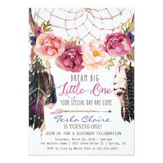 Boho Floral Dreamcatcher Watercolor First Birthday