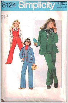 Simplicity Sewing Pattern 8124 Girl's Jumpsuit, Blouse, Unlined Blazer Size: 12 Uncut