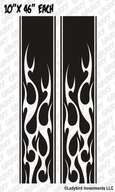 Truck Bed Stripe Decals - Tribal Flame Stickers - Universal Fit (Pair x2) Custom Motorcycle Paint Jobs, Custom Paint Jobs, Cool Car Stickers, Tribal Pattern Tattoos, Pinstriping Designs, Flame Art, Flame Design, Alien Concept Art, Truck Bed