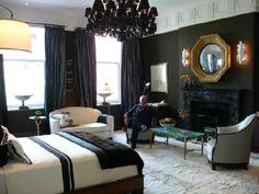 COLORS!  bedrooms - dramatic black bedroom drama glam black chandelier black walls gold gilt mirror black fireplace drapes floakti rug molding turquoise blue black bedroom