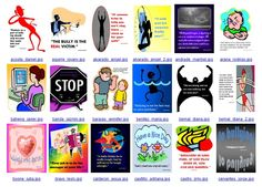 Poster examples 1 re: bullying produced in Microsoft Publisher by 7th graders, RYSS. Note: photographs and symbols downloaded from the Internet strictly for educational purposes.