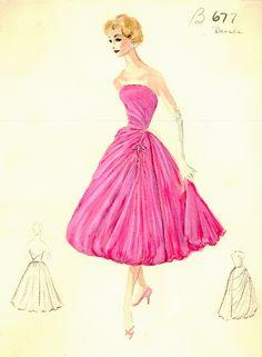 Vintage - Esquisses et Croquis - Mode - années 1950/1960