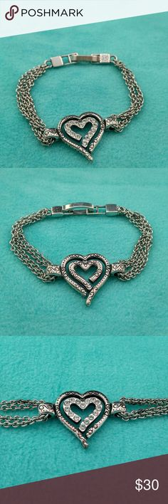 Brighton double heart bracelet Very pretty with sparkly crystals on one side for when you want to dress up.  Used but still in good shape Brighton Jewelry Bracelets