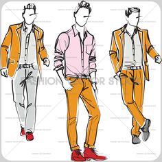 Fashion sketch of three young men in summer suits. ®Yordanka Poleganova