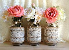 Burlap and lace covered 3 mason jar vases wedding deocration, bridal showerâ?¦