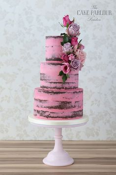 Patisserie-style cakes - buttercream wedding cakes, naked wedding cakes, semi-naked cakes, drip cakes, chocolate wedding cakes and macaron towers Vegan Wedding Cake, Cool Wedding Cakes, Pastel Wedding Cakes, Wedding Cupcakes, Pretty Cakes, Beautiful Cakes, Drip Cakes, Naked Cakes, London Cake