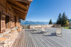 Beautiful and exclusive property on the ski slopes in Nendaz Chalets For Sale, Ski Slopes, Alps, Switzerland, Skiing, Real Estate, Patio, Mountains, Architecture