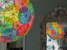 making a lantern  with colorful drink umbrellas
