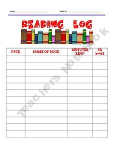 Reading log - nice for the summer months!