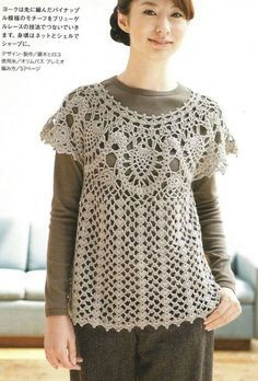 Lots pf patterns with charts - Crochetpedia: Crochet Shirt Blouse Patterns 2 Crochet T Shirts, Crochet Tunic, Crochet Clothes, Crochet Lace, Free Crochet, Irish Crochet, Crochet Motifs, Crochet Patterns, Crochet Diagram