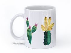 Cacti illustrations mug in green purple and yellow