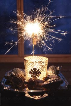Sparkler in front of window at night by Sandra Cunningham - Christmas, New year's eve - Stocksy United Christmas Feeling, Christmas Colors, Rustic Christmas, Christmas Lights, Christmas Time, Glitter Ballons, Wal Paper, Cool Wallpapers For Phones, Candle Lanterns
