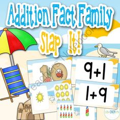 Addition Fact Family Slap-It! Card Game Beach Theme from Life Over C's on TeachersNotebook.com -  (21 pages)  - Build addition fact family fluency with this active card game for your math centers. Students will match numbers, picture-represented addition problems and horizontal addition problems while playing a fun game.