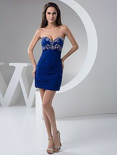 Pleated Sweetheart Sheath Party Dress with Shimmery Beading - USD $108.00