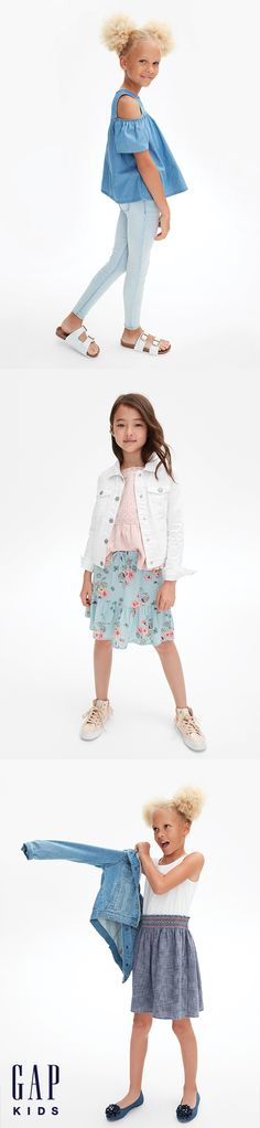 A fun top, floral skirt, and a classic denim jacket = all you need to ace first-day-of-school style. Shop now.