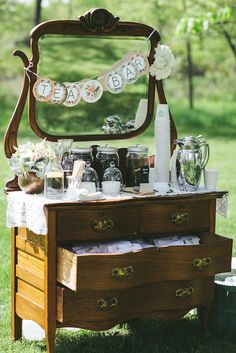 This delightful antique chest serves as a refreshing tea bar. source: woodnotephotography.net #beveragebar #antiquechest #tea