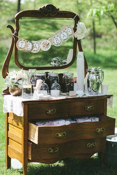This delightful antique chest serves as a refreshing tea bar. source: woodnotephotography.net #beveragebar #antiquechest #tea