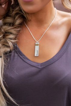 "Etched ""Blessed"" Necklace- Silver - Dottie Couture Boutique"