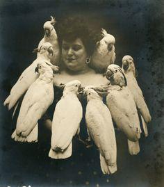 Rosa Naynon, Vaudeville bird act, 1907, J. Willis Sayre Photographs