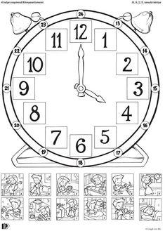 Uhrzeit lernen, Uhr, Zeiz, Mathe, 24 Stunden, Tagesablauf, Bilder, Bild, Abbildungen von Aktivitäten am Tag, verbinden: