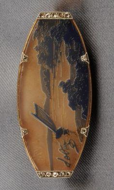 An Art Nouveau Pate de Verre and Diamond Brooch, France, Cristallerie de Pantin…