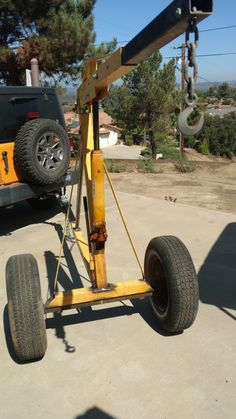 A number of years ago, I remember reading a post where a guy converted his HF engine hoist to be able to go across the yard. Metal Projects, Welding Projects, Projects To Try, Homemade Bandsaw Mill, Lifting Devices, Garage Furniture, Metal Welding, Heavy Truck, Garage Workshop