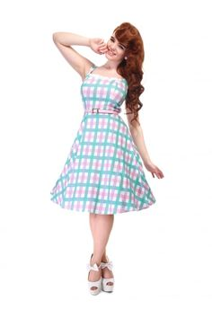 Collectif Mainline Chloe Candy Gingham Swing Dress - Collectif Mainline from Collectif UK
