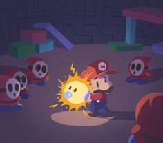 An Illustration Outlet - My complete Paper Mario set, with all of the. Super Mario Bros, Super Mario World, Super Mario Brothers, Mario Video Game, Video Game Art, Mario Bros., Mario And Luigi, Pokemon, Shy Guy