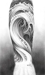Wave tattoo. Awesome.