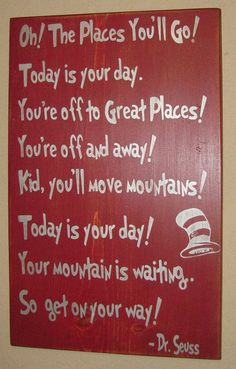 Child's Room/Nursery Wall Hanging, Distressed Wall Decor, Custom Wood Sign, Dr Seuss - Oh The Places You'll Go on Etsy, $44.00