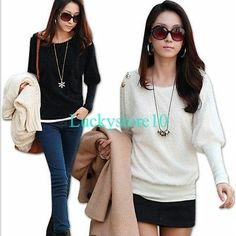 New Casual Korea Women Gold Buttons Round-neck Batwing Tops Blouses Black White