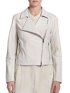 Eileen Fisher Perforated Leather Moto Jacket in cement exclusively at Saks $898.00, sale $538.80, final reduction, (extra 25%) $404.00