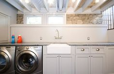 Paint the ceiling basement laundry room - image by houzz.com