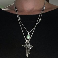 """Double chain silver necklace with cross pendants. Reversible!  Adjustable closing.  12"""" length including cross. Lucky Brand Jewelry Necklaces"""
