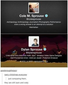 Cole and Dylan Sprouse, still hilarious after all these years.