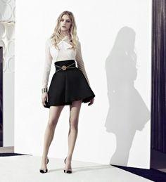 Elegant black skirt  and white blouse