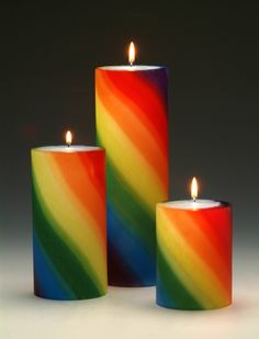 Lovely rainbow candles, set of 3