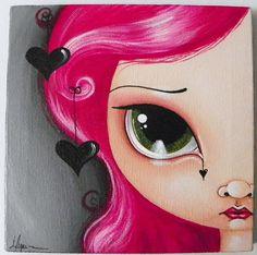 black hearts photo by Megan K. Illustrations, Illustration Art, Pintura Graffiti, Art Journal Inspiration, Art Journal Pages, Whimsical Art, Portrait Art, Big Eyes, Face Art