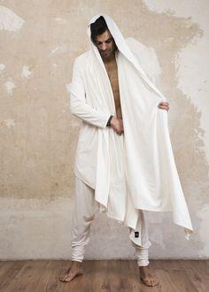 IAM VALO - Jedi style bamboo cardigan cloak vest Cape Jacket, Vest, White Cardigan, Cloak, Bamboo, Saree, Mens Fashion, Burning Man, Long Sleeve