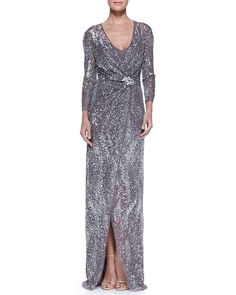 Jenny Packham Beaded Three-Quarter Sleeve Gown with Wrap Front