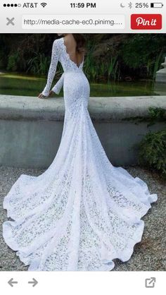 Sleeves Backless Mermaid White Lace Chapel Train Bridal Gown