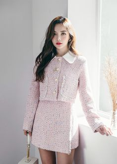Tweed Contrast Collar Jacket - Cute with short length ♥ Color mix tweed collar short jacket! Best Picture For fashion outfits - Preppy Outfits, Girly Outfits, Classy Outfits, Cute Outfits, Tweed Outfit, Tweed Dress, Korean Dress, Korean Outfits, Ulzzang Fashion