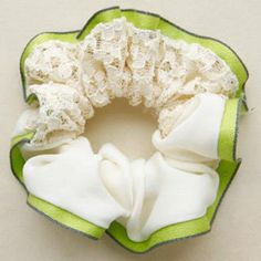 Lace-Panel Hair Tie Light Green - One Size