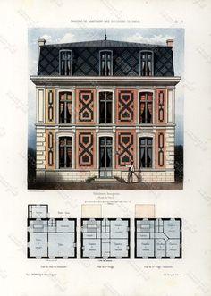 Antique Architectural Print Architecture 1855 by Printvilla4you