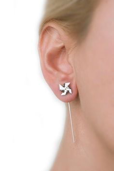 lookatthislittlething:  Pinwheel earrings,mini windmill,windmill jewelry,minimal earring,ear pin earring,cute little earring,fold formed jewelry,metal titanium stud by largentolab (23.00 USD) http://ift.tt/1j014MV