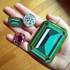 Large Emerald enamel lapel pin by Diamondoodles on Etsy