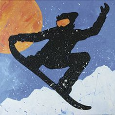 Enjoy the last few weeks of winter with this energetic snowboarding painting from Social Artworking. #socialartworking #snoboarding