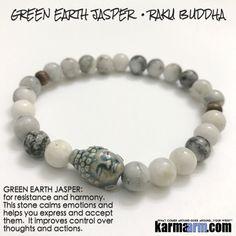 Yoga Bracelets Manifesting Meditation Tibetan Buddhist Beaded Mala Men & Women. #LOA Law of Attraction. Green Earth Jasper Raku Buddha.